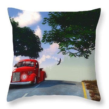 Country Cruise Throw Pillow by Ken Morris
