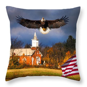 country Eagle Church Flag Patriotic Throw Pillow by Randall Branham