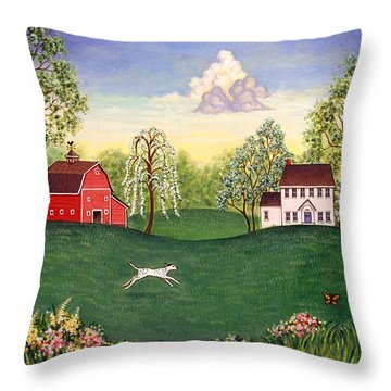 Country Frolic One Throw Pillow by Linda Mears