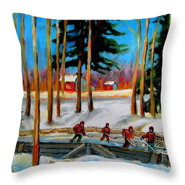 Country Hockey Rink Throw Pillow