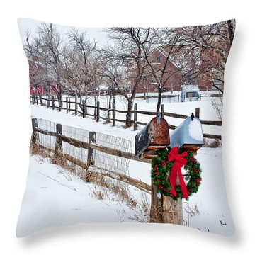 Country Holiday Cheer Throw Pillow