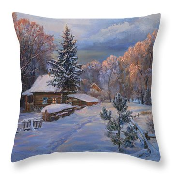 Country House In Winter Throw Pillow