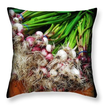 Country Kitchen - Onions Throw Pillow by Miriam Danar