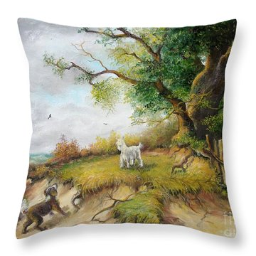 Throw Pillow featuring the painting Country Life  by Sorin Apostolescu