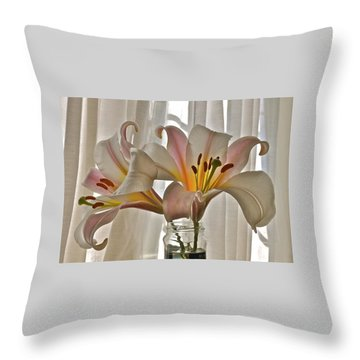 Country Lilies Throw Pillow by K L Kingston