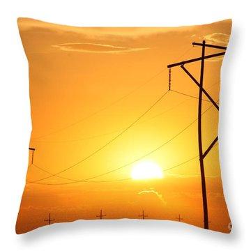 Country Powerline's Throw Pillow by Robert D  Brozek