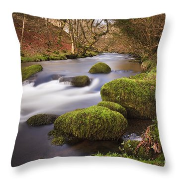 Country River Scene Wales Throw Pillow by Pearl Bucknall