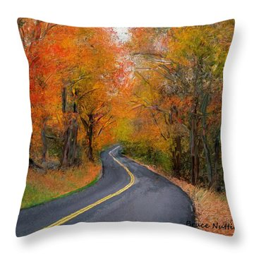 Throw Pillow featuring the painting Country Road In Autumn by Bruce Nutting