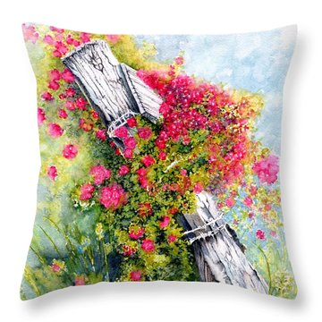 Country Rose Throw Pillow by Janine Riley