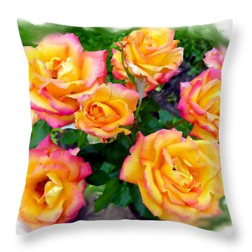 Country Roses Watercolor Throw Pillow by Will Borden