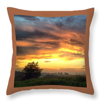 Country Scene From Hilltop To Hilltop Throw Pillow