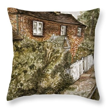 Old English Cottage Throw Pillow by Teresa White