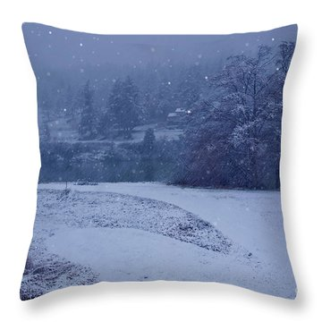 Country Snowstorm Landscape Art Prints Throw Pillow by Valerie Garner