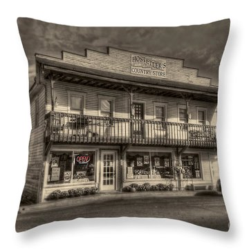 Country Store Open Throw Pillow by Dan Friend