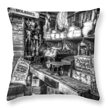 Country Store Supplies Black And White Throw Pillow by Ken Smith