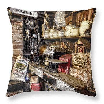 Country Store Supplies Throw Pillow by Ken Smith