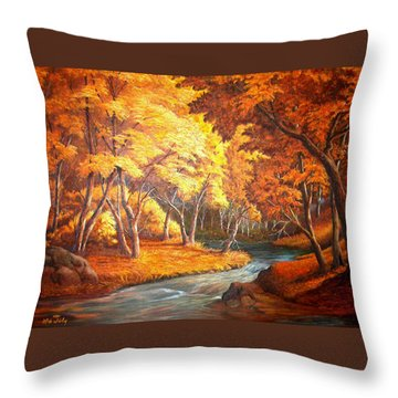Country Stream In The Fall Throw Pillow