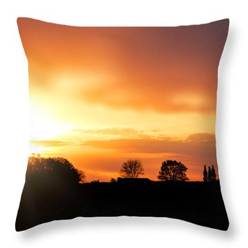 Country Sunset Silhouette Throw Pillow