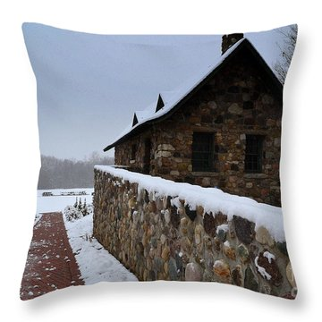 Country Winter Landscape  Throw Pillow
