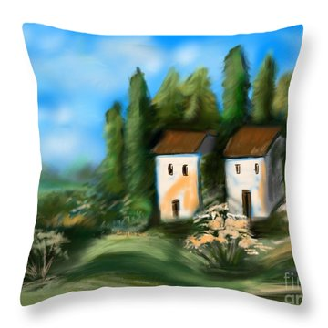 Throw Pillow featuring the digital art Countryside by Christine Fournier