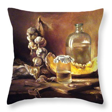 Throw Pillow featuring the painting Countryside Still Life 2 by Mikhail Savchenko