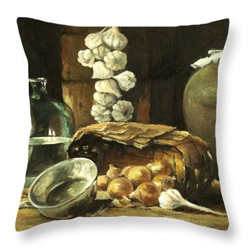 Throw Pillow featuring the painting Countryside Still Life by Mikhail Savchenko