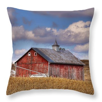 County G Barn In Autumn Throw Pillow