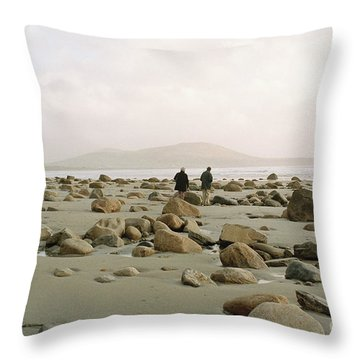 Couple And The Rocks Throw Pillow by Rebecca Harman