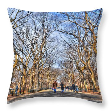 Couple At Literary Walk Throw Pillow by Randy Aveille