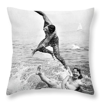 Couple Frolics In The Surf Throw Pillow
