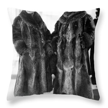 Couple In Coonskin Coats Throw Pillow