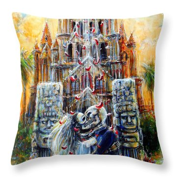 Throw Pillow featuring the painting Couple In Love by Heather Calderon