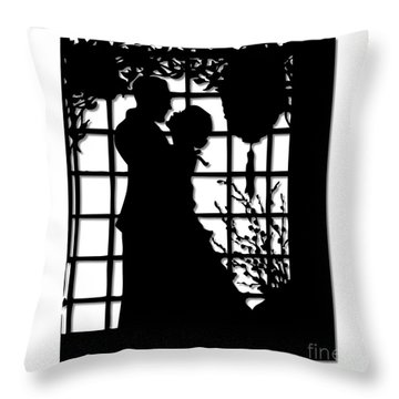 Throw Pillow featuring the digital art Couple In Love Silhouette by Rose Santuci-Sofranko