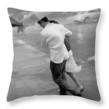 Couple In The Rain Throw Pillow