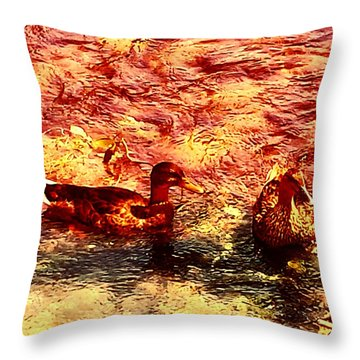 Couple Of Ducks Throw Pillow by Jason Michael Roust