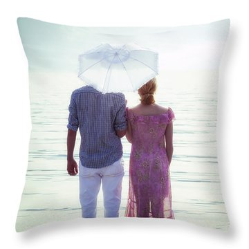 Couple On The Beach Throw Pillow by Joana Kruse
