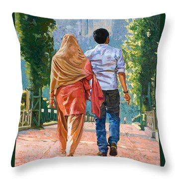 Couple Under The Leafy Arch Throw Pillow by Dominique Amendola