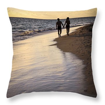 Couple Walking On A Beach Throw Pillow