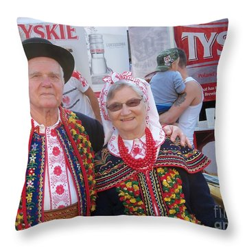 Couples In Polish National Costumes Throw Pillow by Lingfai Leung