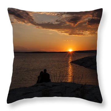 Couple's Sunset In The Desert Throw Pillow