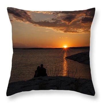 Couple's Sunset In The Desert Throw Pillow