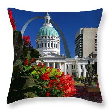 Courthouse Arch Skyline Fountain Throw Pillow