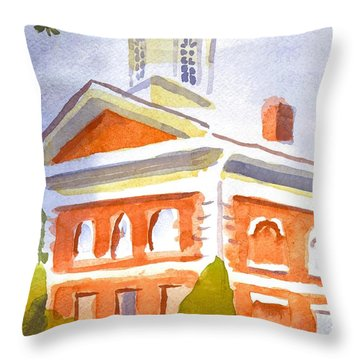 Courthouse With Picnic Table Throw Pillow by Kip DeVore