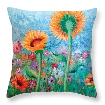 Courting Sunflowers Throw Pillow