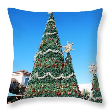Courtyard Christmas Throw Pillow by Beverly Stapleton