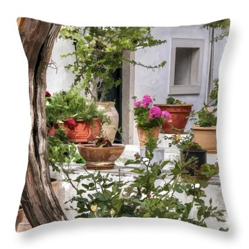 Throw Pillow featuring the photograph Painted Effect - Courtyard by Susan Leonard