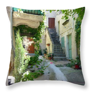 Courtyard Throw Pillow by Lauren Leigh Hunter Fine Art Photography
