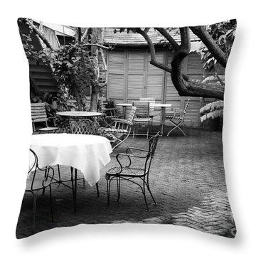 Courtyard Seating Throw Pillow by John Rizzuto