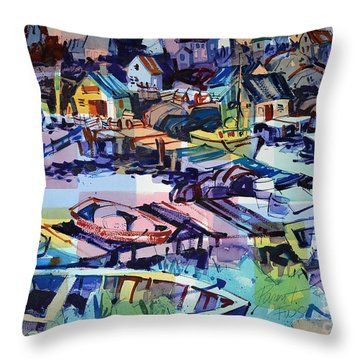 Throw Pillow featuring the painting Peggy's Cove Late Afternoon by Roger Parent