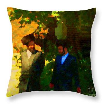 Covenant Conversation Two Men Of God Hasidic Community Montreal City Scene Rabbinical Art Carole Spa Throw Pillow by Carole Spandau